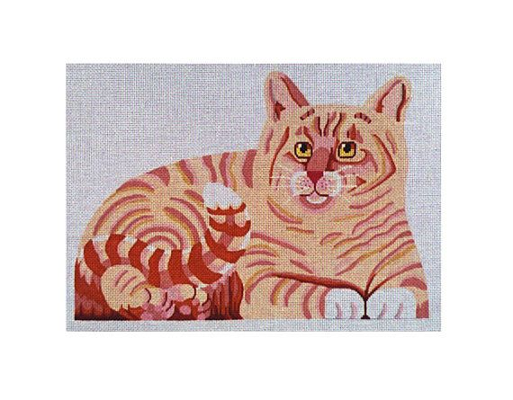 """Adorable marmalade cat needlepoint stuffed animal. He comes with a front, back and bottom. design: 14 1/2""""w x 9 1/2""""h  13 mesh  $136.00"""