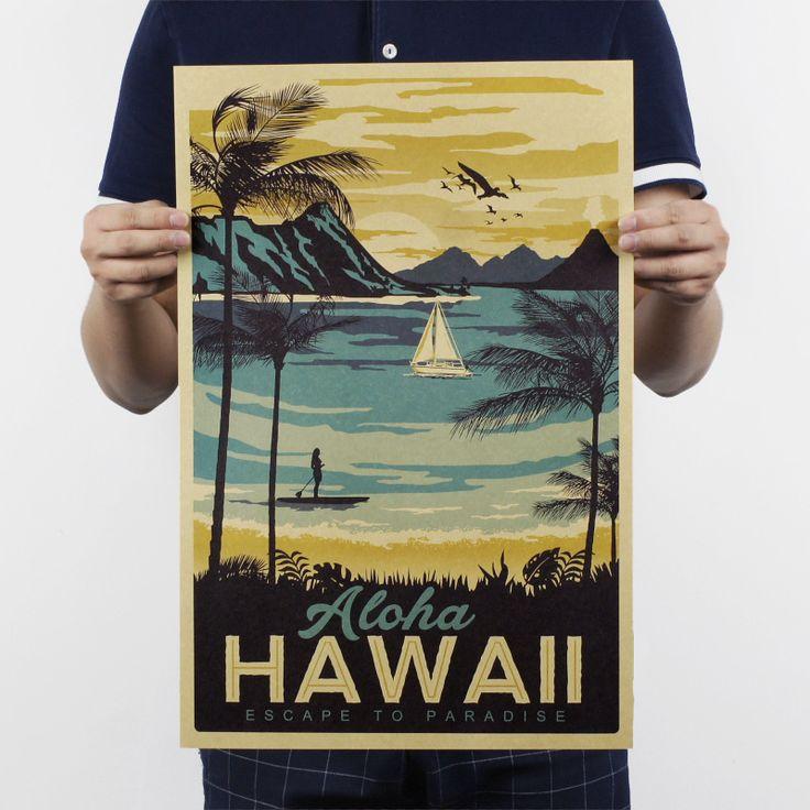 Aloha Hawaii/célèbre touristiques/Paysage peinture/kraft papier/bar affiche/Rétro Affiche/peinture décorative 51x35.5 cm