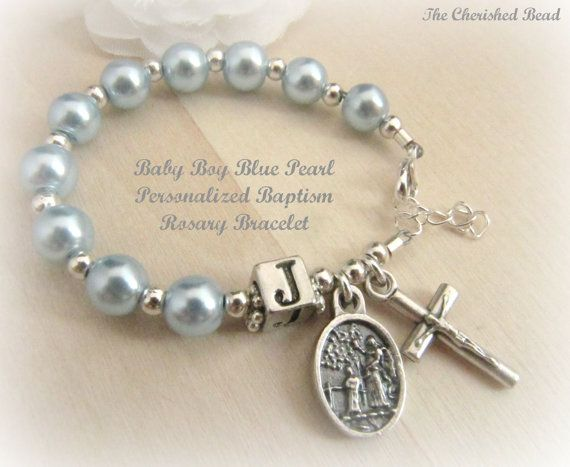 Baby Boy Baptism Light Blue Pearl Guardian by TheCherishedBead, $24.00