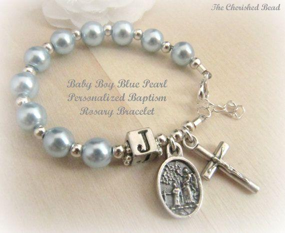Baby Boy Baptism Light Blue Pearl Guardian by TheCherishedBead, $24.00