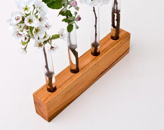 Wood Vase Decorative Bud Vase Wedding Vase FLORENCE by lessandmore