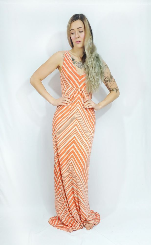 a67d551d03 NWT bebe Hot Coral Cement Chevron Stripe Jersey V-neck Knit Maxi Sundress M  #fashion #clothing #shoes #accessories #womensclothing #dresses (ebay link)