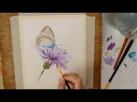 Пишем акварелью картину «Бабочка». Speed painting