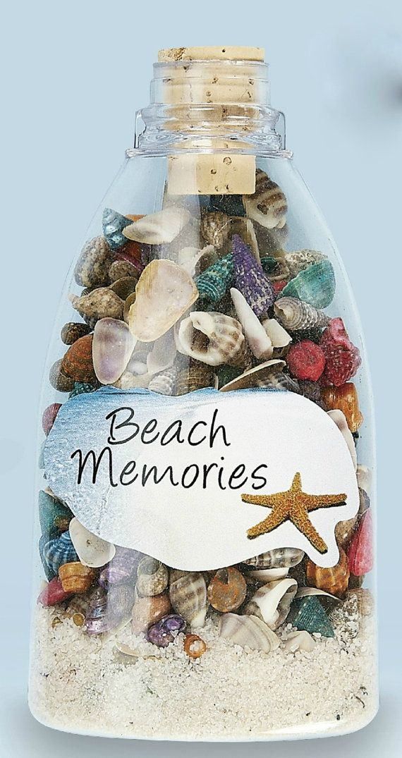 12 Pc Lot Sea Shell and Sand Bottles Plastic Unbreakable Wedding Party Luau Gifts Custom 8479