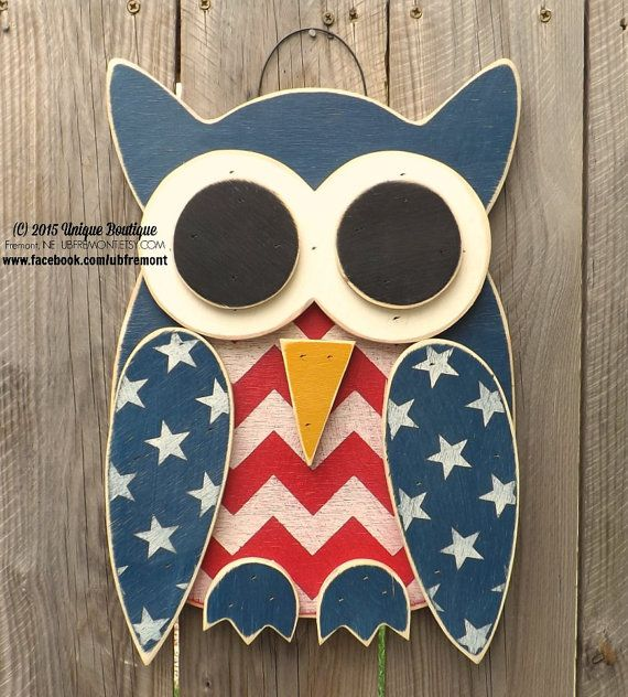 Little Wood Owl Patriotic 4th Of July Americana Chevron Wood Door Hanger Wooden Hanging Sign