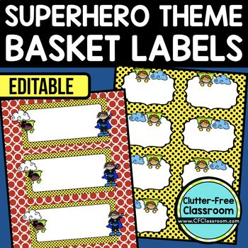SUPERHERO THEME Editable Labels by CLUTTER FREE CLASSROOM - These organizational labels have many uses in the classroom or home school. They can be classroom library labels, name tags for cubbies or desks, supply labels, used for organizing centers, and much more. Grab these cute printables today for your preschool, Kindergarten, 1st, 2nd, 3rd, 4th, 5th, or 6th grade classroom or home school. And make sure to check out the links for some FREE downloads to help make your space look great!