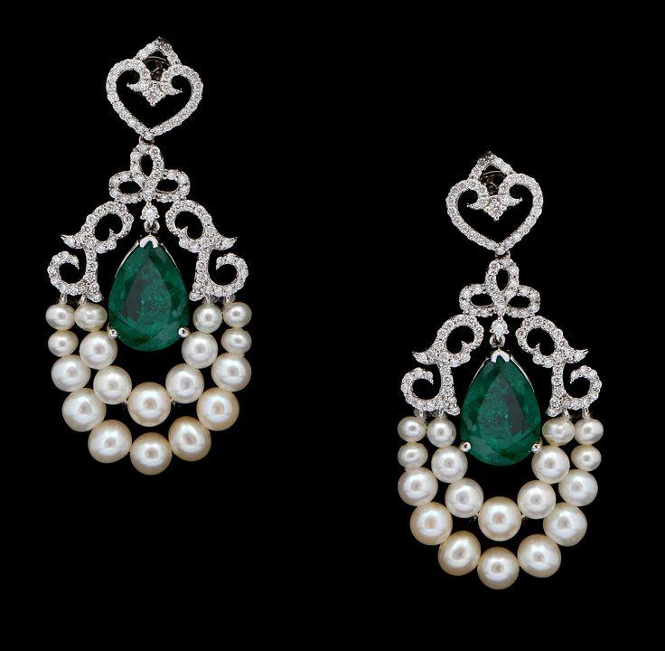 Diamond and emerald eardrops. Vummidi Bangaru Jewellers
