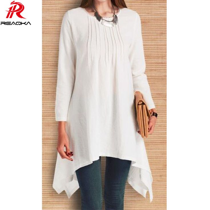 Reaqka Plus size summer Linen women t shirt dress 2017 New Casual O-Neck Long sleeves tops brand women t shirt met lange mouwen