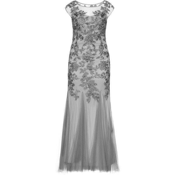 Mascara Grey Plus Size Floral embroidered evening gown ($310) ❤ liked on Polyvore featuring dresses, gowns, grey, plus size, two piece evening dresses, gray evening gown, plus size special occasion dresses, two piece evening gowns and sequin evening dresses