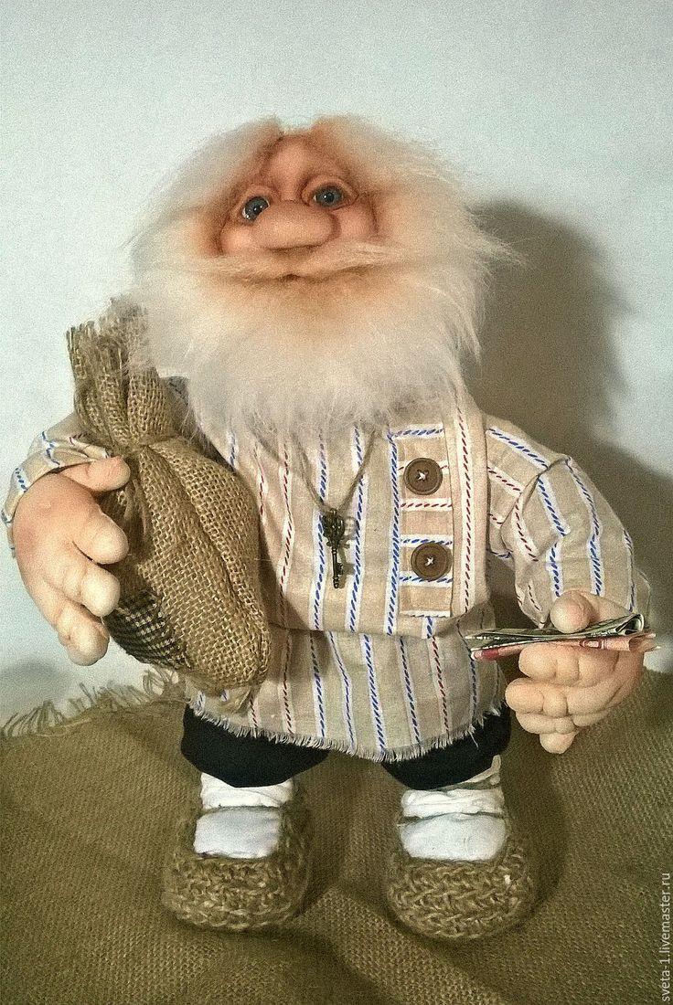Купить домовой - бежевый, домовой, оберег для дома, семейный очаг, интерьерная кукла, капроновая кукла