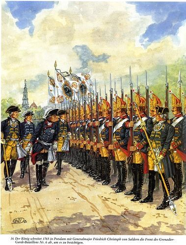 Prussian grenadiers being inspected by Frederick the Great during the Seven Years War.