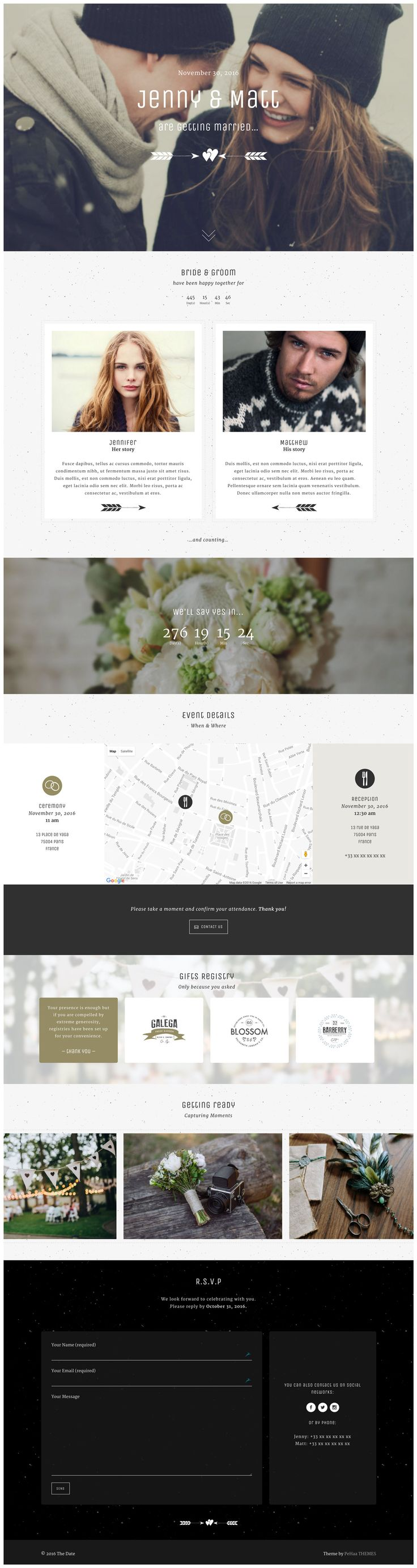 "'Yaga' is a WordPress theme that includes a (ready-to-install) One Page wedding layout option. PeHaa Themes have titled this lovely long-scrolling layout, ""The Date"". Features include a sticky header navigation bar, parallax scrolling effects, a countdown timer leading to the big date, venue map with 4 design options, smart image carousal and a footer with an RSVP form."