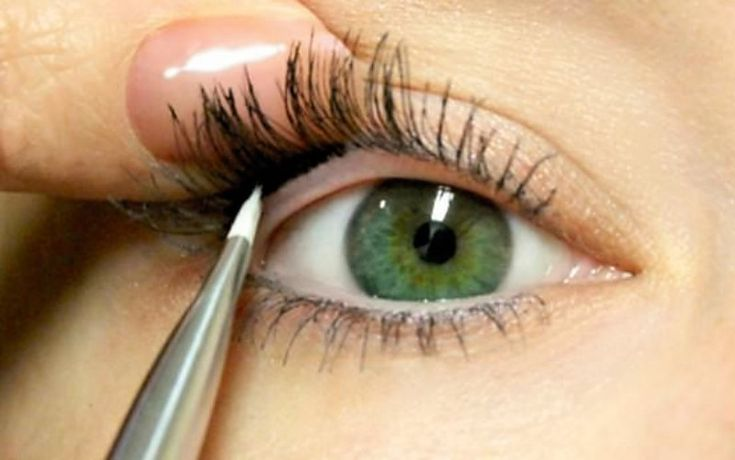 to make your eyelashes look fuller, use black eyeshadow to line underneath on the top lash line. not on the waterline, but where the lashes connect