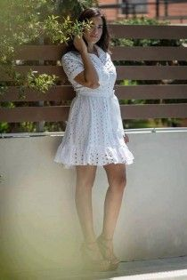 Midi white women's clothing dress