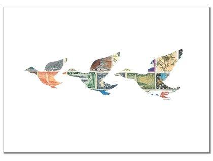 3 Flying Ducks Stamp Art