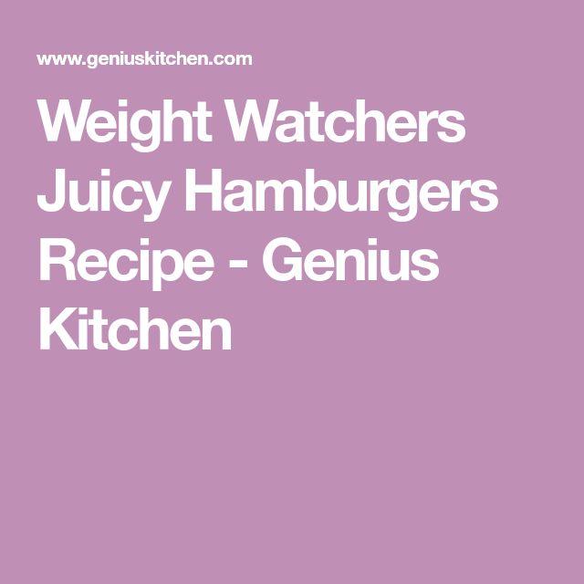 Weight Watchers Juicy Hamburgers Recipe - Genius Kitchen