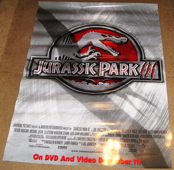 Jurassic Park 3 Movie Poster 27x40 Used Laura Dern, Frank Clem, William H Macy, Tea Leoni, Sarah Danielle Madison, Taylor Nichols, Linda Park, Julio Oscar Mechoso, John Diehl, Mark Harelik, Sam Neill, Michael Jeter