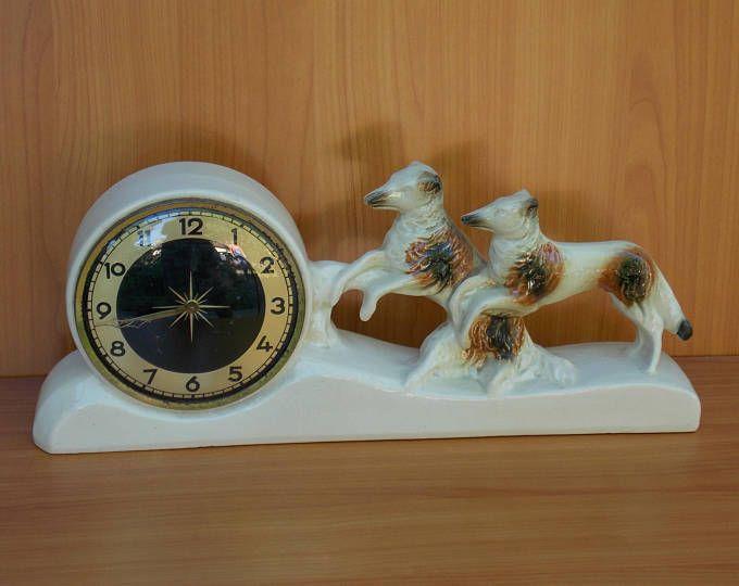 Dog Ceramic Table Clock, Mechanical Clock, Germany Clock, Vintage Clock,  Retro Clock