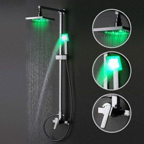 Contemporary Color Changing 8 inch Shower Head + Hand Shower LED Shower Faucet - TSF002