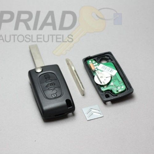 Citroen 3-knops klapsleutel Berlingo. Batterij printplaat en sleutelbaard met groef   S-0307
