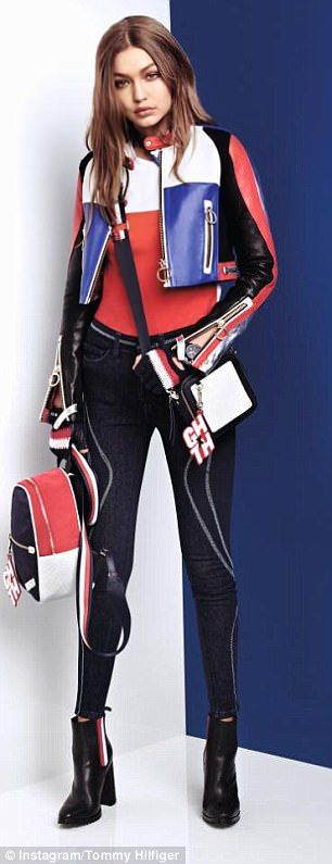 Strike a pose: Gigi also features in a stylish new photo shoot for American designer Tommy Hilfiger