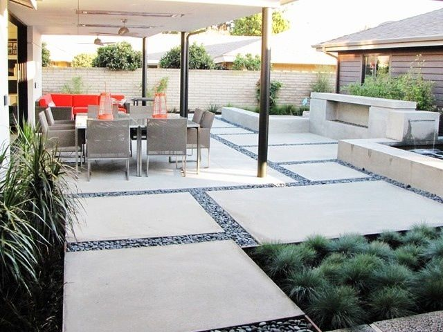 Modern backyard design landscape pinterest rock and for Modern backyard landscaping