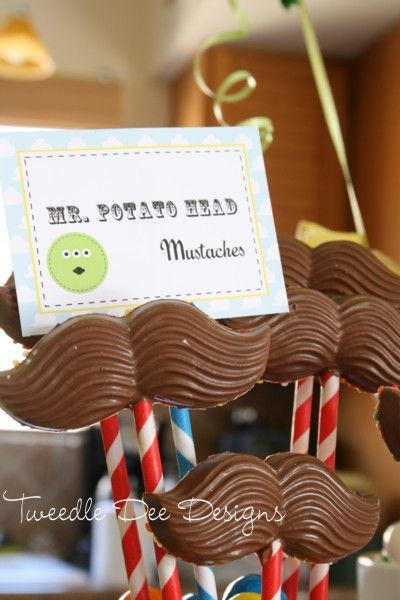 toy story party ideasStories Parties, Potatoes Head, Birthday Parties, Head Mustaches, Chocolates Mustaches, Toy Story Birthday, Parties Ideas, Toys Stories, Birthday Ideas