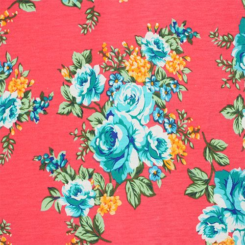 Teal Blue Roses On Coral Pink Cotton Jersey Blend Knit