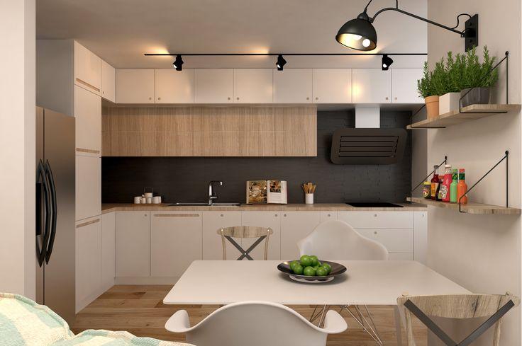 #kitchen #white #dinnertable #green #grey #walllamp #plants #kitchenfruniture #white #lightings
