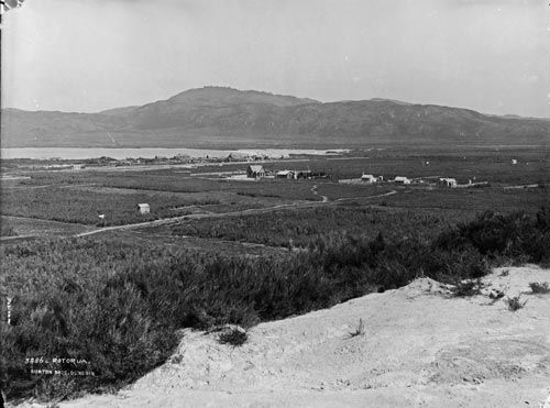 Rotorua from Pukeroa Hill, 1885. The Hospital is now on this hill.