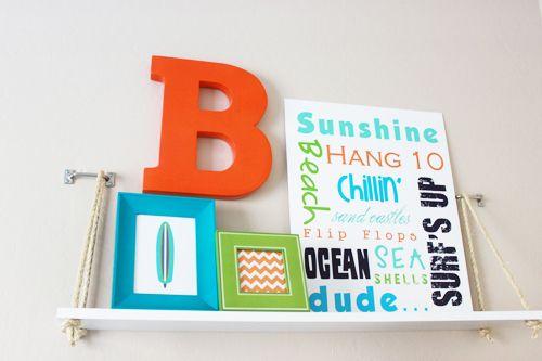 DIY: Swing Shelf LOVE THIS!  Subway Art plus shelf for J's room!