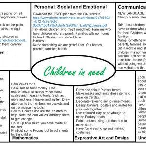 Children in Need EYFS Medium Term plan