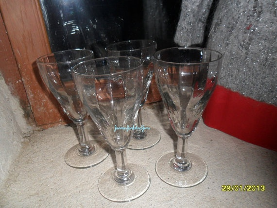 Set Of Four  Large Wine Glasses  Found In by GlassEyedGoblin, €15.00