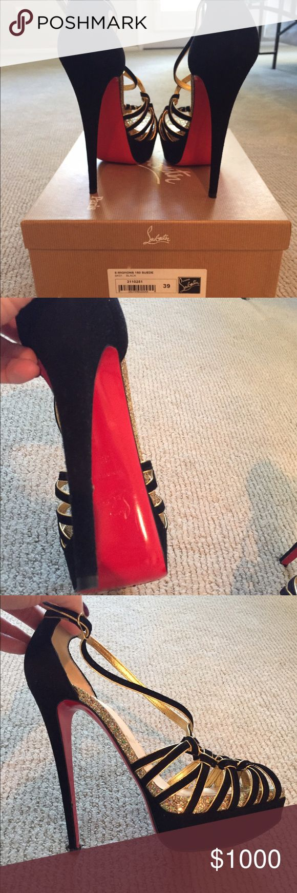 """Christian Louboutin 8 Mignons 150mm Suede, Black Christian Louboutin Shoes Style: """"8 Mignons 150 Suede Black"""" Size: 39  Height: 150 mm (with platform)  *only worn once for a few hours, bottoms show they were clearly only worn once   *purchased at Costa Mesa boutique in South Coast Plaza. Store receipt/transaction available if you would like to see. (Purchase price was $1300) Christian Louboutin Shoes Heels"""