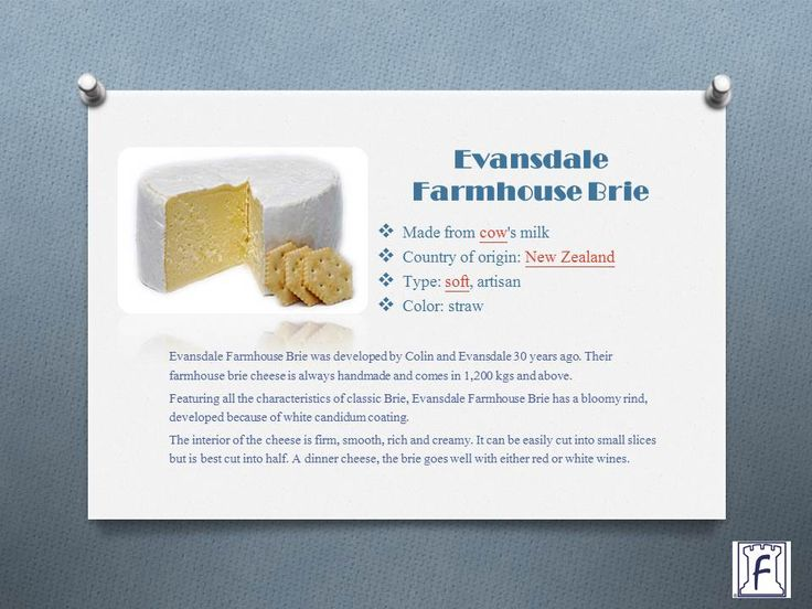 "This week's cheese Evansdale Farmhouse Brie  ""A smoked version of the cheese is also available wherein hot smoke from Manuka chips is used to induce the smoky flavor. This brie exhibits a deep brown candidum mould and a creamy, subtle smoky flavor."""