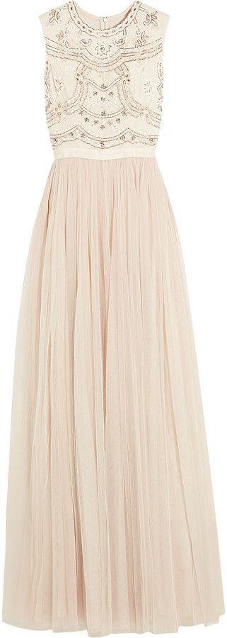 Needle & Thread Sequin-Embellished Crepe and Tulle Gown