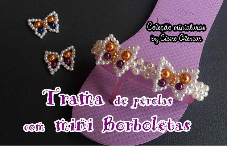 Trama de pérolas com mini borboletas - YouTube