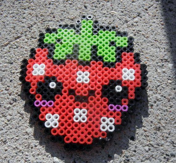 Perler kawaii strawberry refrigerator magnet. $4.75, via Etsy.