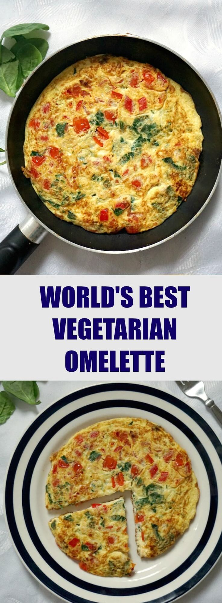 World's best vegetarian omelette recipe with cherry tomatoes, spinach and cheese, for a healthy and happy start of your day. It's easy to make, and the secret to an absolutely great omelette is using fresh ingredients. You'd be surprised how this omelette tastes like a restaurant one. Yes, you are a good cook! #omelette, #omelet , #healthybreakfast , #healthyrecipes