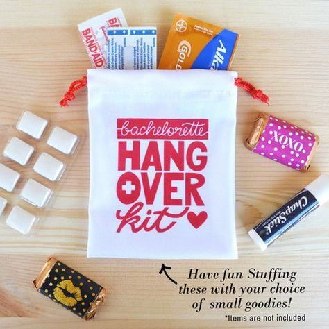 Kaspi Party has the best bachelorette hangover kits and bachelorette survival kits. This works great in a bachelorette party as a bachelorette party favor bag for your girls night out.  Our hangover kit bags are the perfect size to carry in your purse. Shop now at www.kaspiparty.com