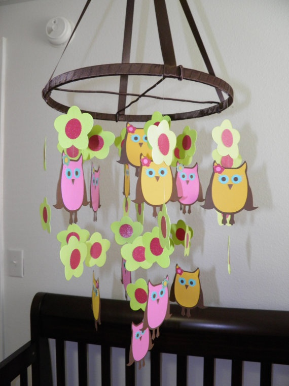 Owl and Flower Paper Mobile by whimsicalaccents on Etsy, $60.00