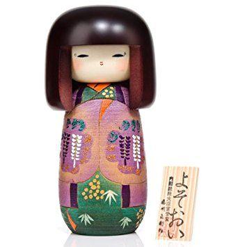 Girl in Wisteria Kimono Wooden Kokeshi Doll