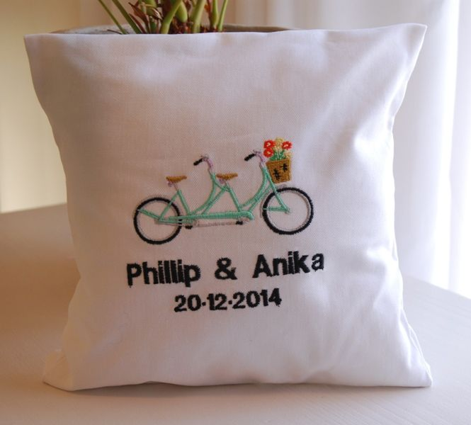 Tandem bicycle themed embroidery ring pillow. Personalized with names and wedding date. louise@heavenlygarters.co.za www.heavenlygarters.co.za