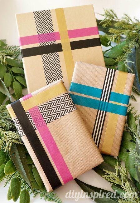 Pretty Washi Tape Gift Wrapping Idea