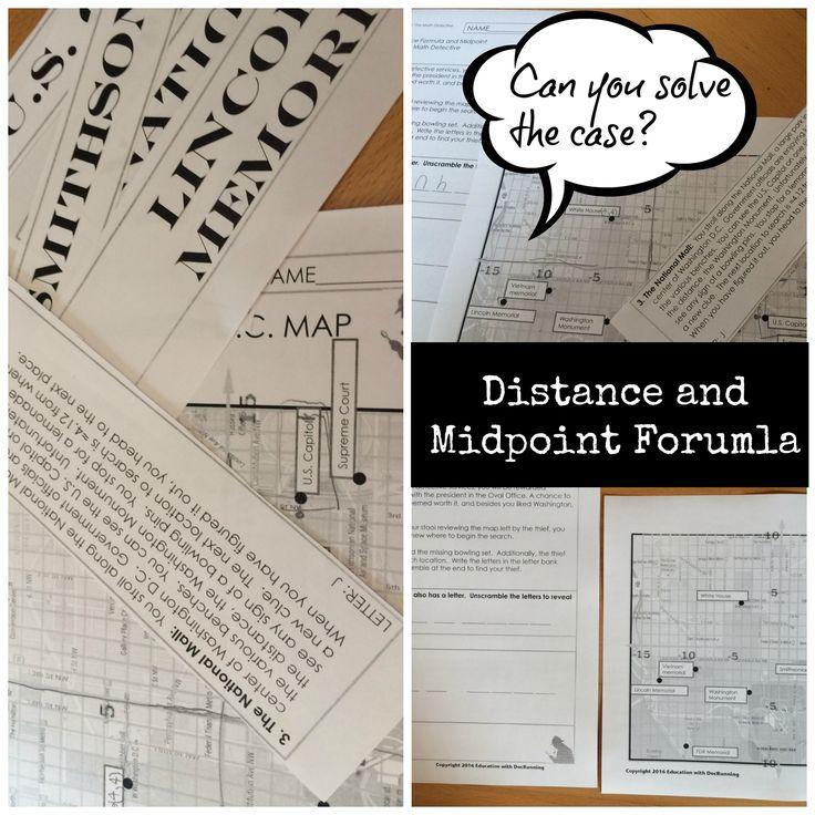 Distance Formula and Midpoint Formula Activity Math