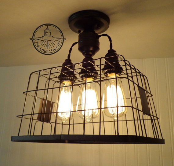 Basket CEILING LIGHT With Edison Bulbs