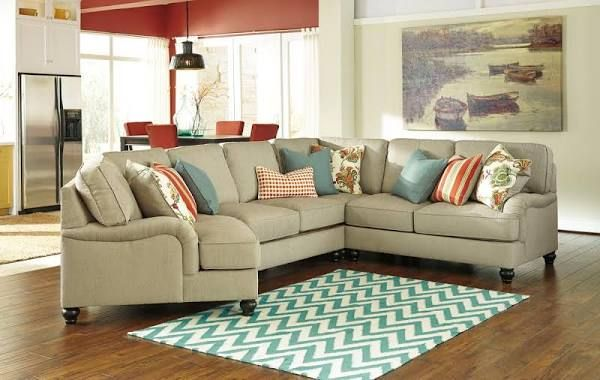 Casual Sectional Sofas With Curved Corner Wedge Living