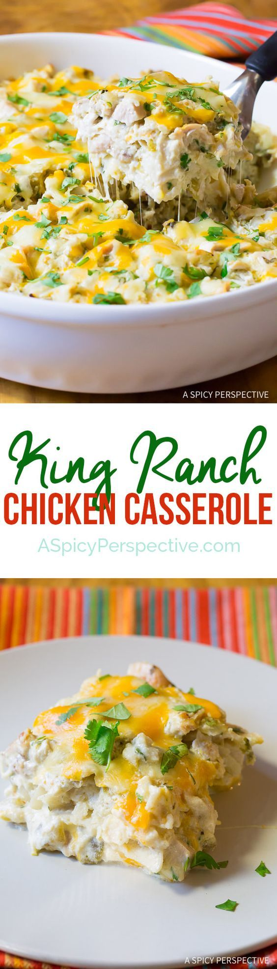 FINALLY! A King Ranch Chicken Casserole without condensed soups | Cheesy Zesty King Ranch Chicken Casserole Recipe | ASpicyPerspective.com