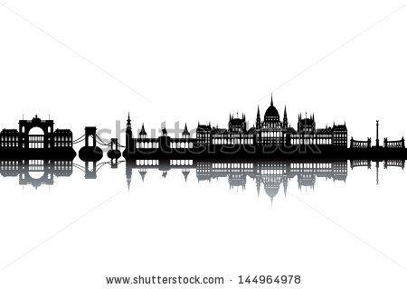 Budapest skyline - black and white vector illustration - stock vector