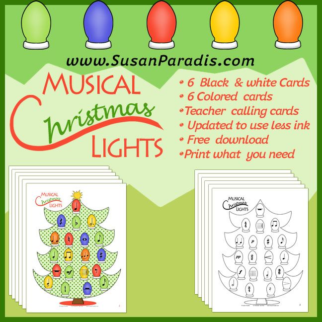 Christmas Lights in Black and White and Color versions for music education classroom or private lessons.
